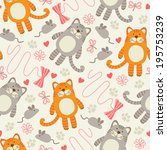 seamless pattern with cats. | Shutterstock .eps vector #195753239