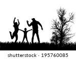vector silhouette of family on... | Shutterstock .eps vector #195760085