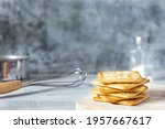 Square Dry Crackers On A Wooden ...