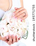 bride holding wedding bouquet... | Shutterstock . vector #195771755
