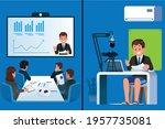 presentation through video...   Shutterstock .eps vector #1957735081