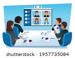 group teleconferencing with...   Shutterstock .eps vector #1957735084