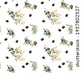 seamless pattern of olive tree... | Shutterstock . vector #1957802527