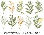 collection of hand drawn green... | Shutterstock . vector #1957802554