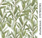 seamless pattern of green olive ... | Shutterstock . vector #1957802581