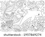 little mermaid coloring book....   Shutterstock .eps vector #1957869274