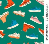 various shoes. boots  sport... | Shutterstock .eps vector #1958008114