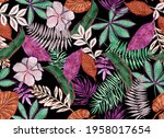 Tropical Pattern Made With Dark ...