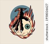 flaming claw tattoo vector...   Shutterstock .eps vector #1958026627