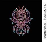 line art spider tattoo vector...   Shutterstock .eps vector #1958027647