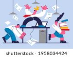 angry boss and stressed staff... | Shutterstock .eps vector #1958034424