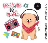 a cute spitz dog in headphones...   Shutterstock .eps vector #1958049577