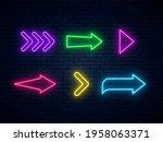 neon arrow signs collection....   Shutterstock .eps vector #1958063371