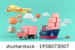 the cargo ships  airplanes and...   Shutterstock . vector #1958073007