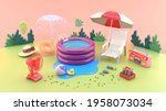 the rubber pool is surrounded...   Shutterstock . vector #1958073034