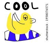 surfing duck  surf rider  funky ... | Shutterstock .eps vector #1958076571