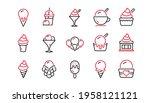 ice cream line icons set.... | Shutterstock .eps vector #1958121121