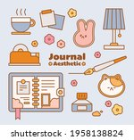the props to decorate the diary.... | Shutterstock .eps vector #1958138824