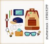 bag essentials   man | Shutterstock .eps vector #195819299