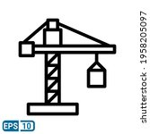 crane icon in line style...   Shutterstock .eps vector #1958205097