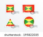 flag of grenada. stamps with... | Shutterstock .eps vector #195822035