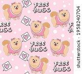 cute sticker spitz dog girl and ...   Shutterstock .eps vector #1958240704