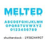 melting font. blue liquid ... | Shutterstock .eps vector #1958244907