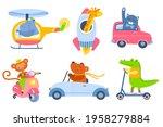 animal transport. cartoon kids... | Shutterstock .eps vector #1958279884
