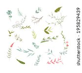 set of florals and ribbon | Shutterstock .eps vector #195829439