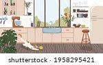 modern interior design of cozy... | Shutterstock .eps vector #1958295421