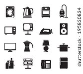 silhouette home equipment icons ... | Shutterstock .eps vector #195830834