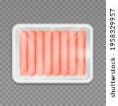 sausages in white plastic tray...   Shutterstock .eps vector #1958329957