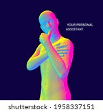 a man with his hand on his chin ...   Shutterstock .eps vector #1958337151