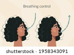 breath exercise for woman... | Shutterstock .eps vector #1958343091