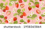 strawberry pattern with flowers ...   Shutterstock .eps vector #1958365864