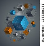 cubes cluster with lines and...   Shutterstock .eps vector #1958386351