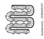 long train like a snake sketch... | Shutterstock . vector #1958405197