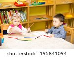 two little kids drawing with...   Shutterstock . vector #195841094