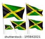 jamaica vector flags set. 5... | Shutterstock .eps vector #195842021