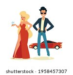rich and famous couple standing ... | Shutterstock .eps vector #1958457307