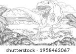 a dinosaur t rex tyrannosaurs...   Shutterstock .eps vector #1958463067