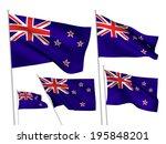 new zealand vector flags set. 5 ... | Shutterstock .eps vector #195848201