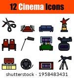 cinema icon set. editable bold...   Shutterstock .eps vector #1958483431