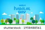 world habitat day greeting card....   Shutterstock .eps vector #1958488561