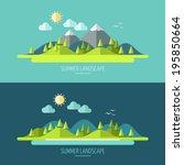 flat design nature landscape... | Shutterstock .eps vector #195850664