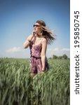 beautiful fashion hippie woman... | Shutterstock . vector #195850745