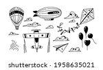 doodle air transport. set of...   Shutterstock .eps vector #1958635021