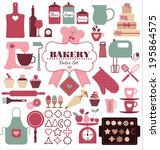 bakery icons set. vector... | Shutterstock .eps vector #195864575