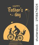 happy father  son  daughter... | Shutterstock .eps vector #1958674024