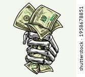 skeleton hand in fist holding... | Shutterstock .eps vector #1958678851